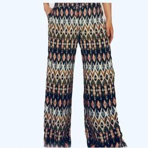 Peace & Pearls Soft Printed Wide Leg Pants - XXL
